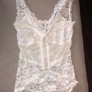 White Structured Lace Bodysuit